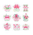 thank you good day welcome logo design set card vector image