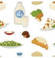 vegan milk dairy products and bakery sweets food vector image vector image