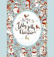 vertical christmas snowmen background vector image vector image
