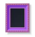 Violet frame with gold patterns isolated