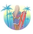 Beautiful fashion girl with longboard vector image
