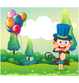 A monkey with balloons in the hilltop vector image