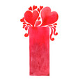 abstract red heart with rectangle banner vector image vector image
