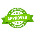 approved ribbon approved round green sign approved vector image vector image