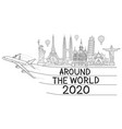 around world with airplane travel landmark vector image