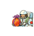 astronaut gives the planet mars isolate on white vector image vector image
