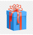 blue gift box with red ribbon icon flat style vector image
