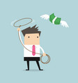 businessman chasing flying money by rope vector image vector image