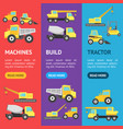 cartoon construction machinery banner vecrtical vector image