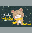 christmas poster with bear vector image vector image