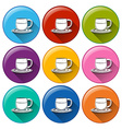 Circle buttons with cups vector image vector image
