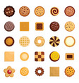 cookies biscuit icons set flat style vector image