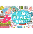 cute girl and books love reading design vector image vector image