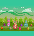 easter cartoon forest with eggs and bunnies vector image