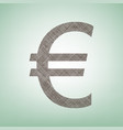 euro sign brown flax icon on green vector image vector image