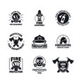fire fighter logo icons set flat style vector image