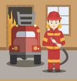 fireman isolated vector image vector image