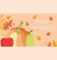 happy thanksgiving day pumpkin with apple and pear vector image vector image