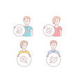 head skin condition and face declined icons mint vector image