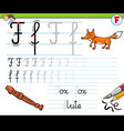 how to write letter f workbook for children vector image vector image
