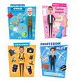 jeweler pilot photographer and tailor vector image vector image