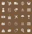 Logistics color icons on brown background vector image