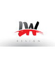 lw l w brush logo letters with red and black vector image vector image