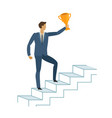 man is climbing career ladder business concept vector image vector image