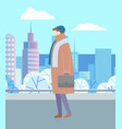man walking in city park alone urban landscape vector image vector image