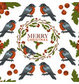 merry christmas poster with greeting text and vector image