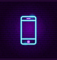 mobile phone neon label vector image vector image