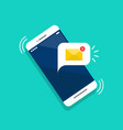 new email notification on smartphone screen vector image vector image