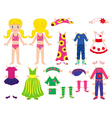 Paper doll and clothes set for her vector image