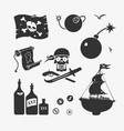 pirate symbols set vector image vector image