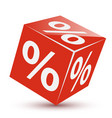 red dice cube percentage concept discounts vector image