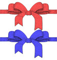ribbon bows red and blue hand drawn vector image