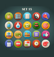 Round Bright Icons with Long Shadow Set 15 vector image vector image