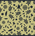 seamless pattern black silhouettes flowers vector image vector image