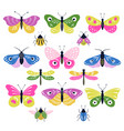 set colorful decorative folk insects vector image vector image
