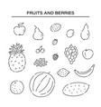 set different fruits line doodle icons plant vector image