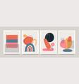 set minimalistic geometric art posters vector image