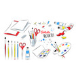 set of artists supplies vector image vector image