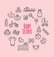 set of baby icons flat style signs vector image