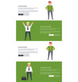 set of designs for web page with businessman vector image vector image