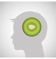silhouette head with tasty kiwi icon graphic vector image vector image