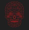 skull flowers red on a black background design vector image vector image