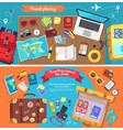 travel planning poster with icons for holidays vector image