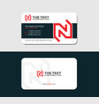 visiting card with red letter n vector image vector image