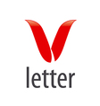 Abstract logo red letter V vector image