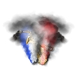 saxophone and trumpet in smoke vector image